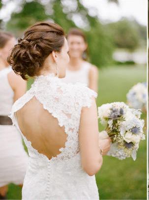 Penteado de noiva, com cabelo preso